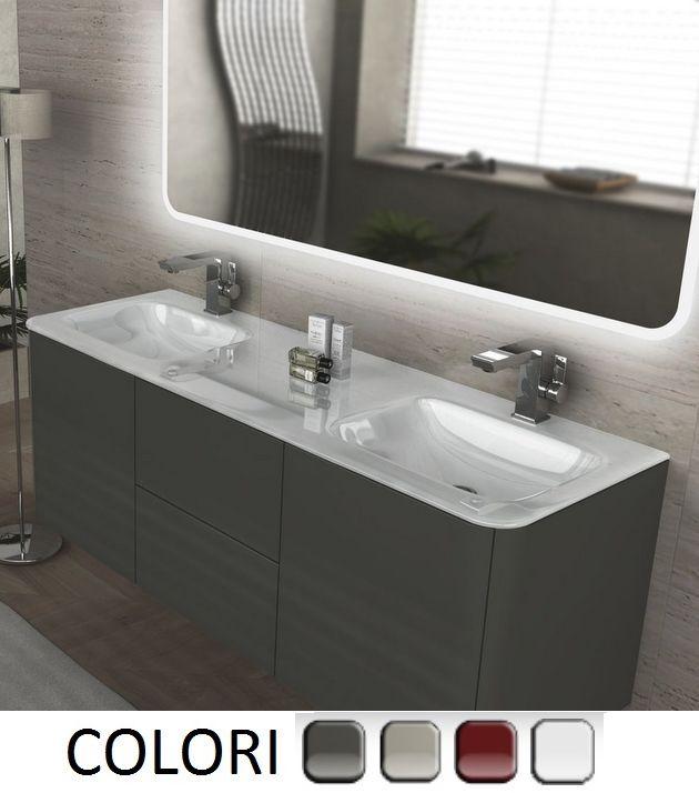 details sur meuble salle de bain suspendu 140 cm 4 couleurs double lavabo cristal blanc 3