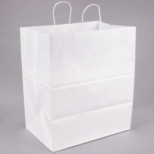 White Kraft Paper Shopping Bags - 50% PCW | BagsBagsBags.com