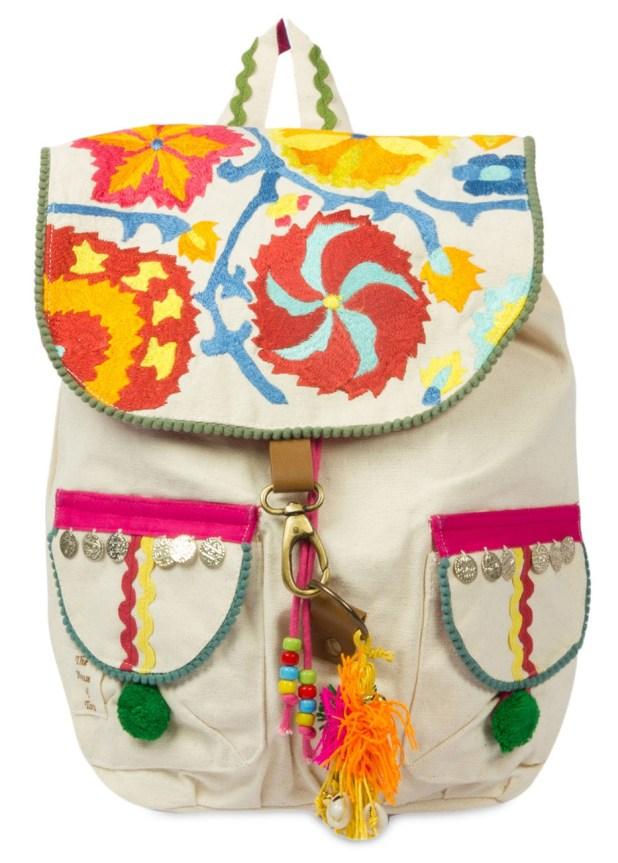 Limeroad Beige Embellished Backpack