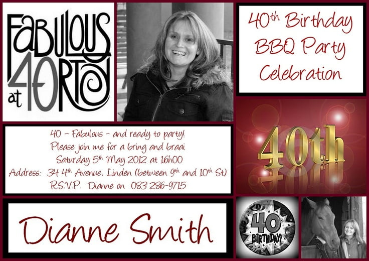 40th birthday invitation wording free