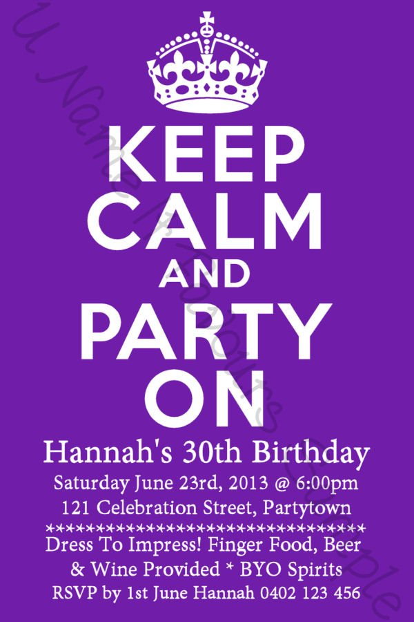 Birthday Invitations 30 Years Old