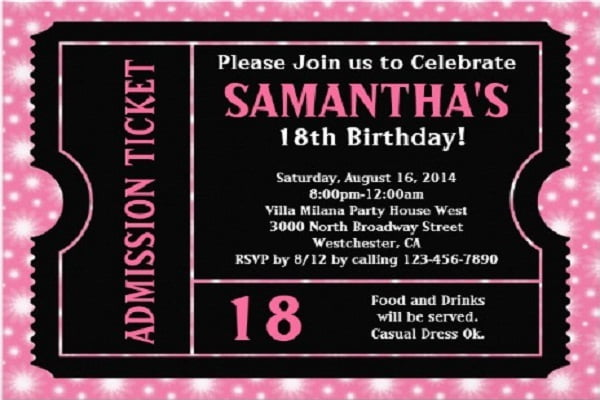 Doc600800 Free 18th Birthday Invitation Templates The 170 – Free 18th Birthday Invitations Templates