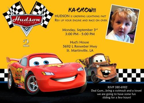 disney cars birthday invitations free