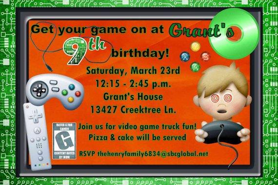 video game birthday invitations free