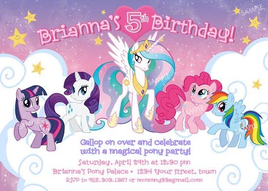 little pony birthday invitations ideas
