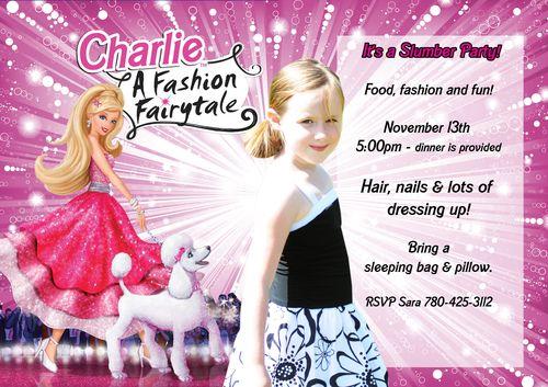 barbie birthday party invitations