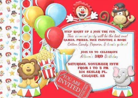 circus birthday party invitations