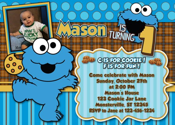 cookie monster birthday invitations