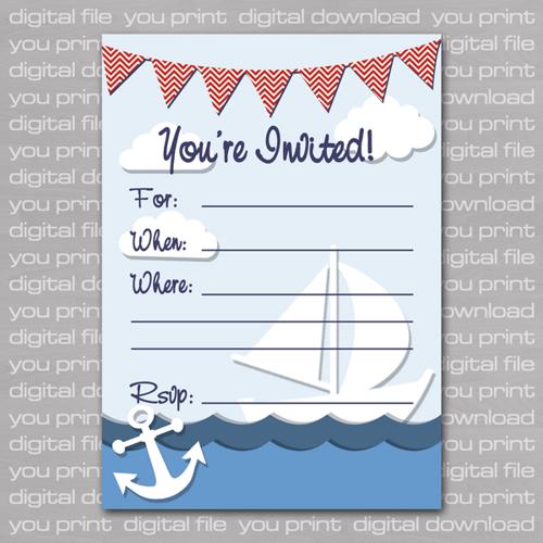 nautical birthday invitations free