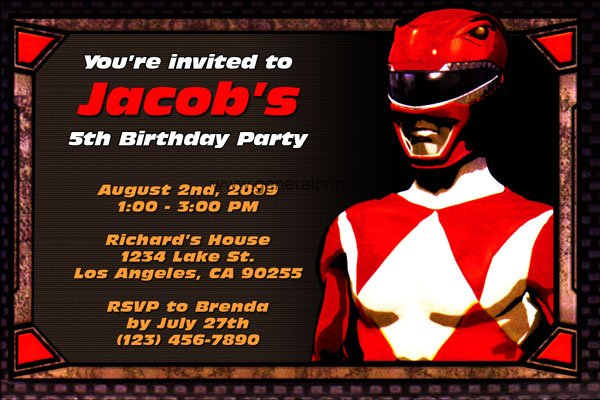 free power ranger birthday party invitations Cogimbous – Power Rangers Party Invitations
