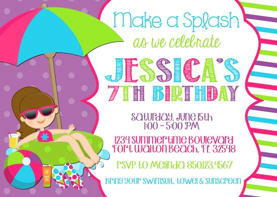 Pool Party Invitations