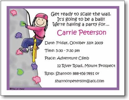 rock climbing birthday invitations