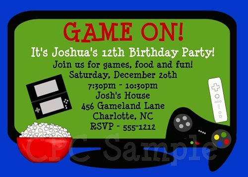 video game birthday invitations free