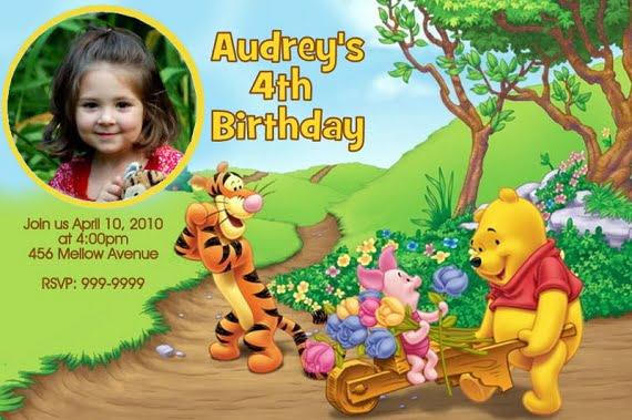 pooh birthday party invitation ideas