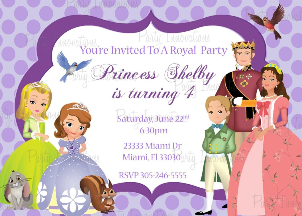 Sofia The First Birthday Invitation Card Template Free | Rezzasite.co