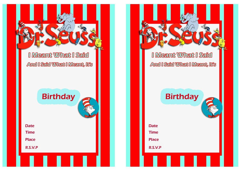 Free Printable Dr Seuss First Birthday Invitations Free