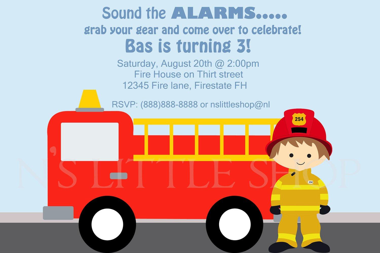 firefighter birthday invitation ideas