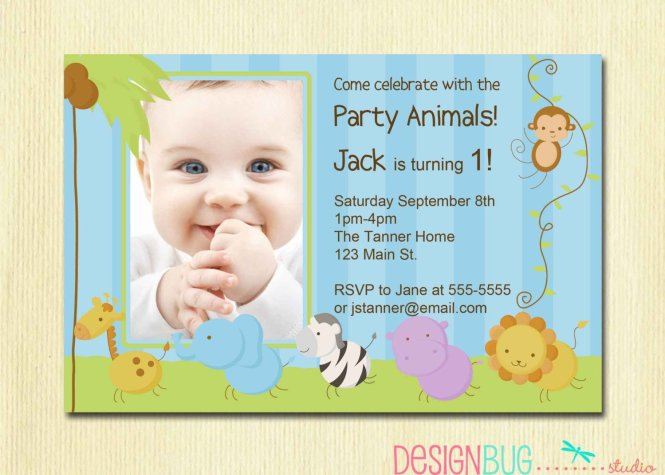 Simple Zoo Baby First Birthday Invitations