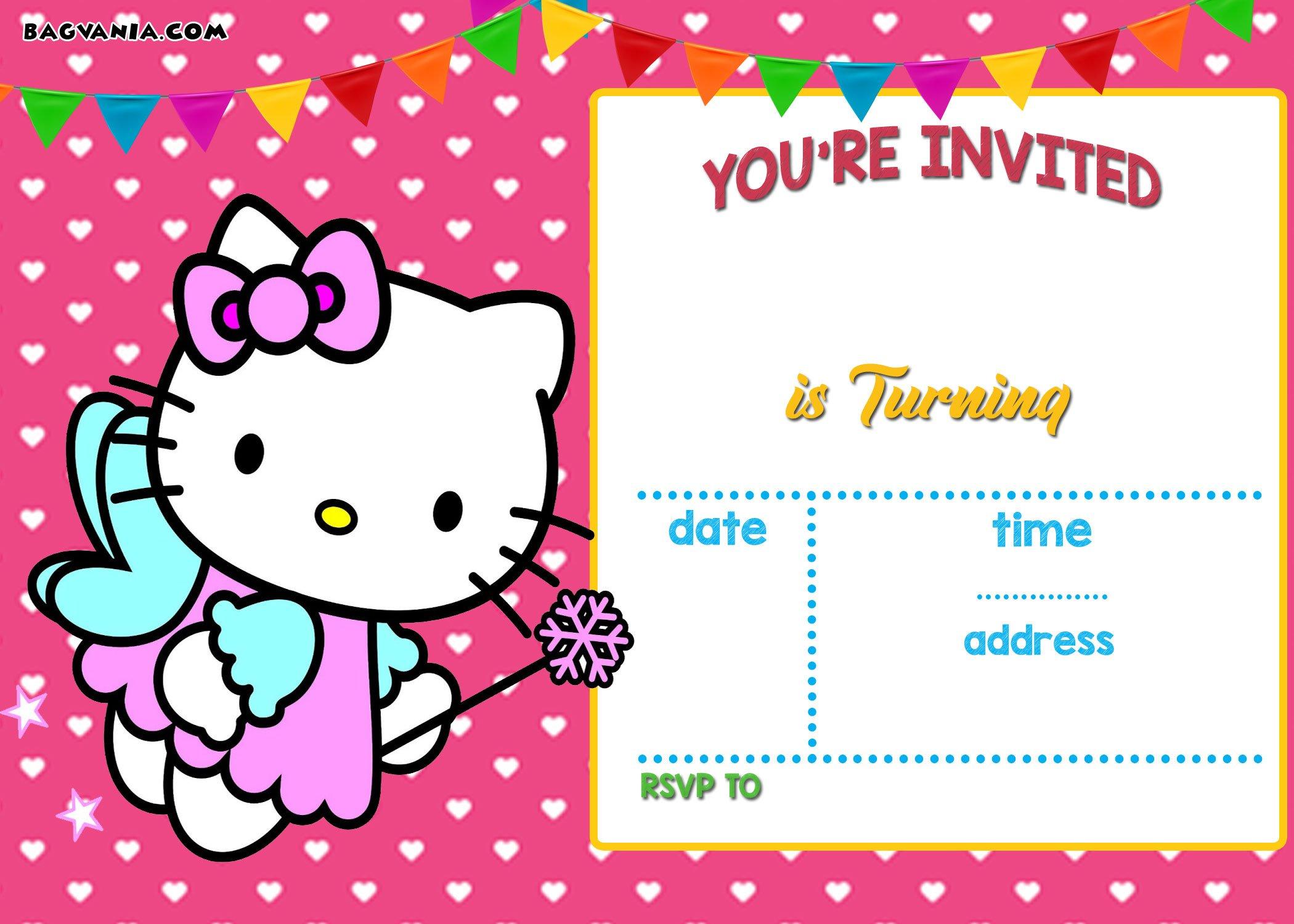 Free Printable Hello Kitty Birthday Invitation Wording