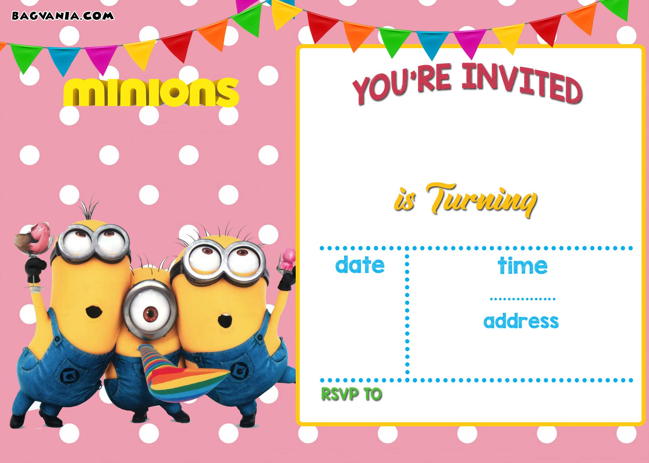 FREE Printable Minion Birthday Invitation Templates FREE
