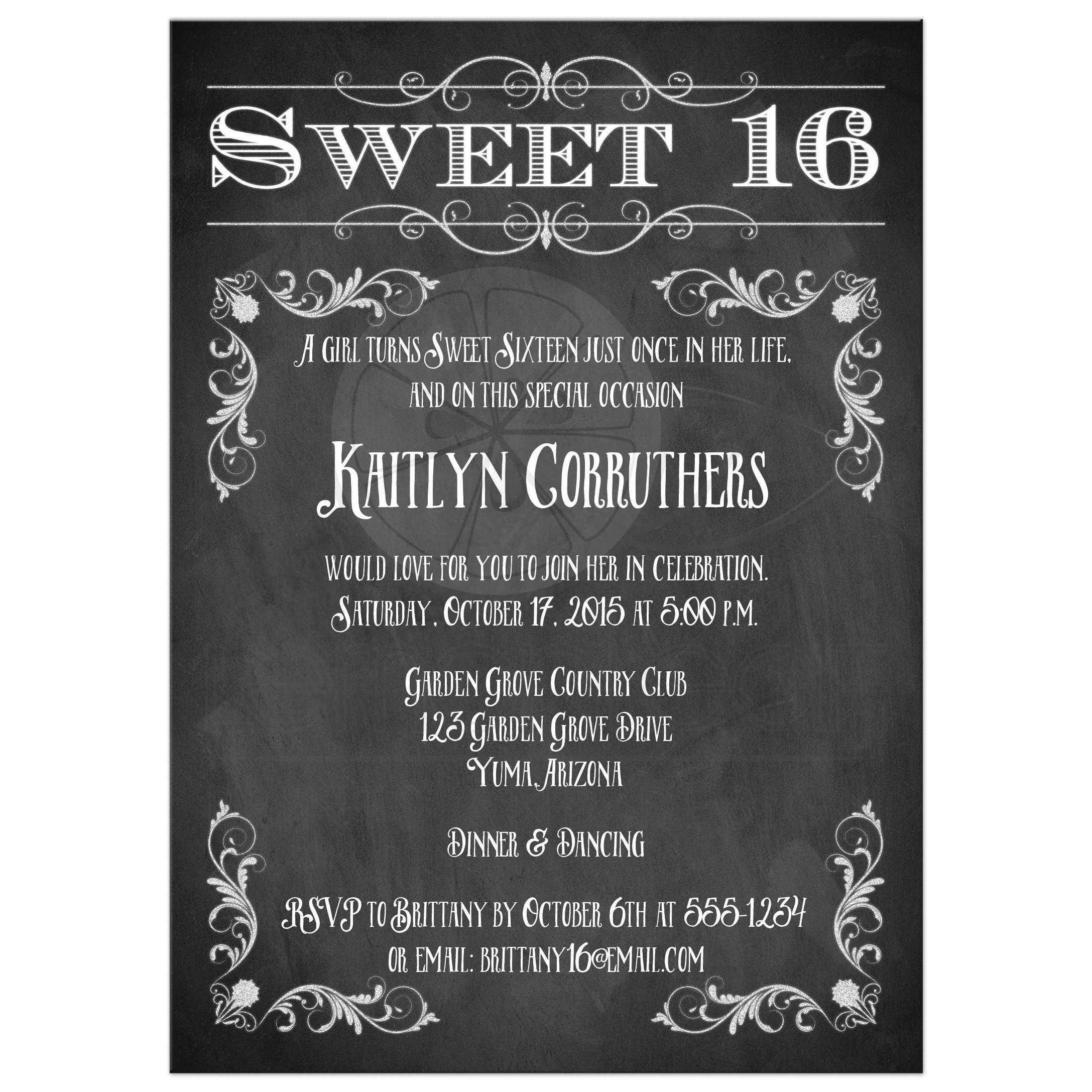 free sweet 16 birthday invitations