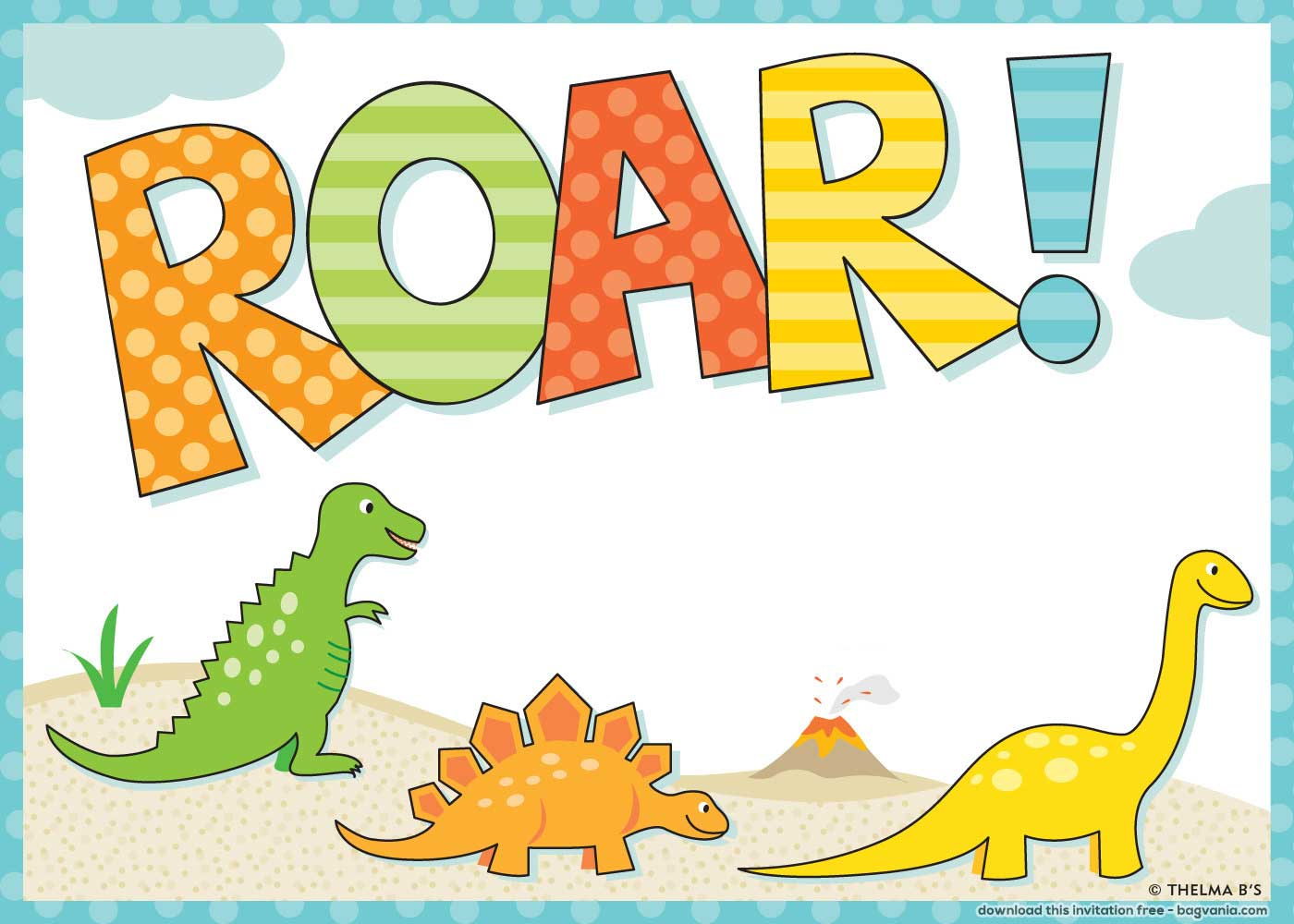 Free Dinosaur Birthday Invitations Free Printable