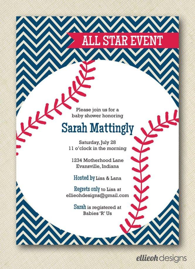Baseball Themed Baby Shower Invitations As Easy On The Eye