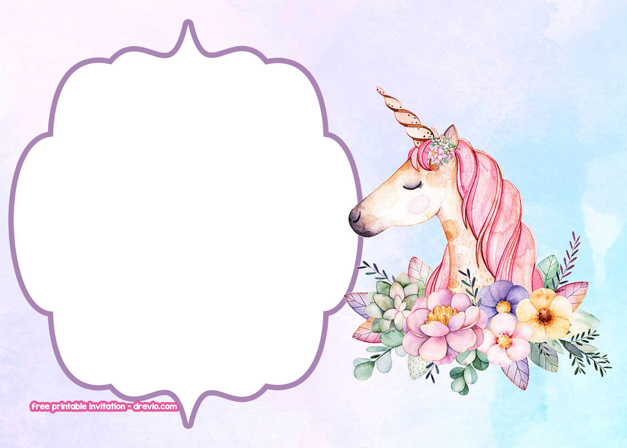 free unicorn birthday invitation