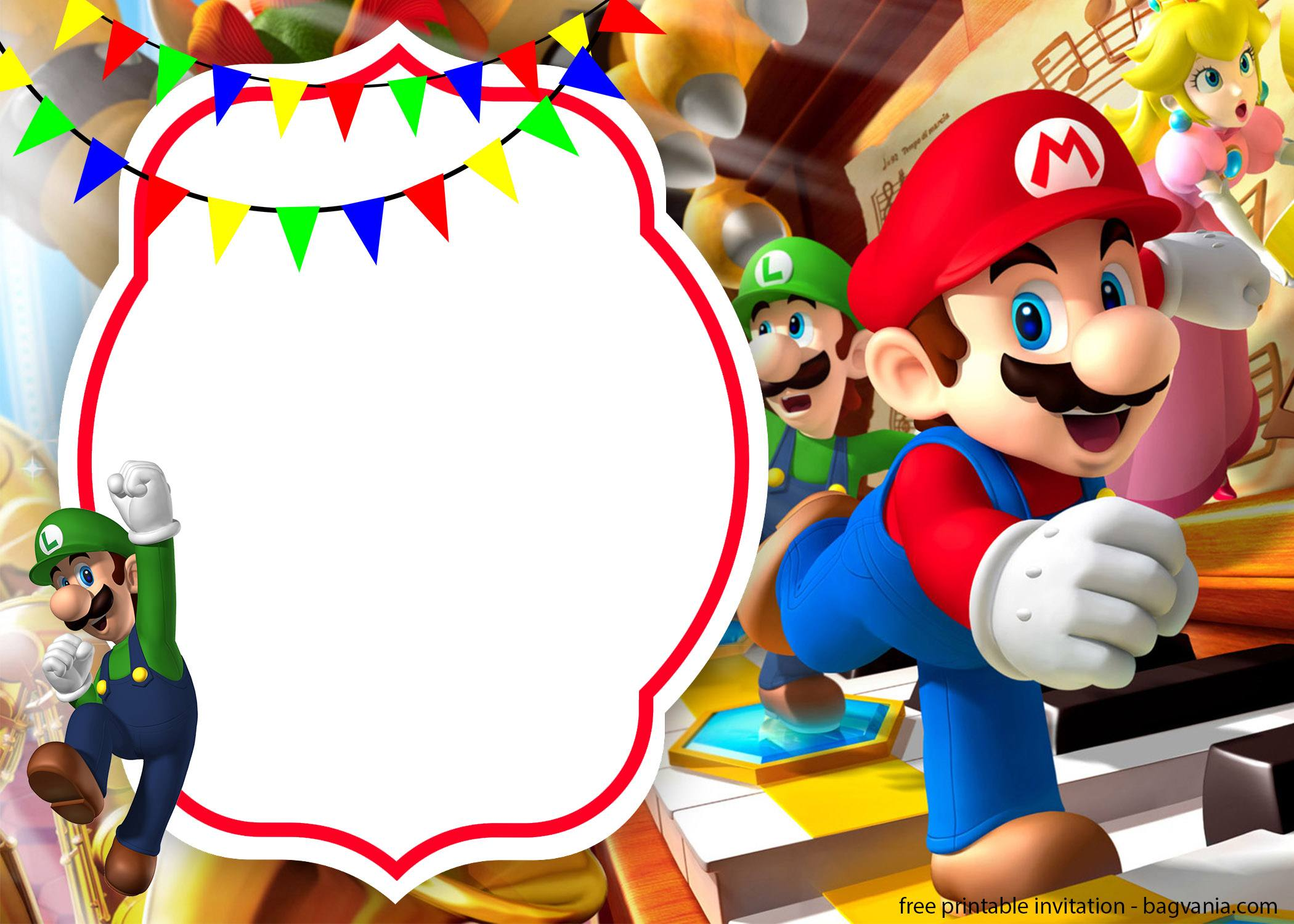 free printable mario invitation