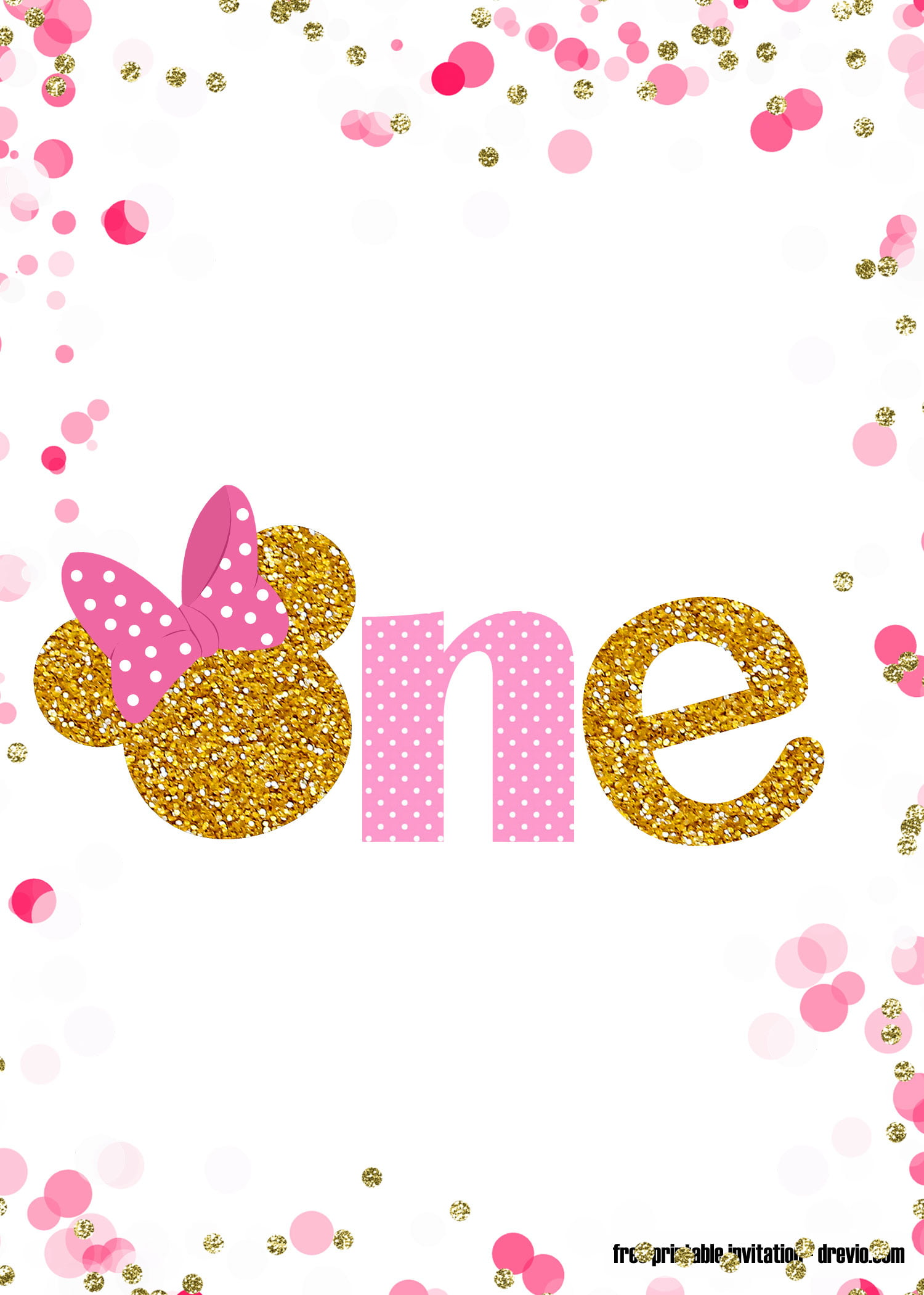 Free Printable Pink And Gold Minnie Mouse 1st Birthday