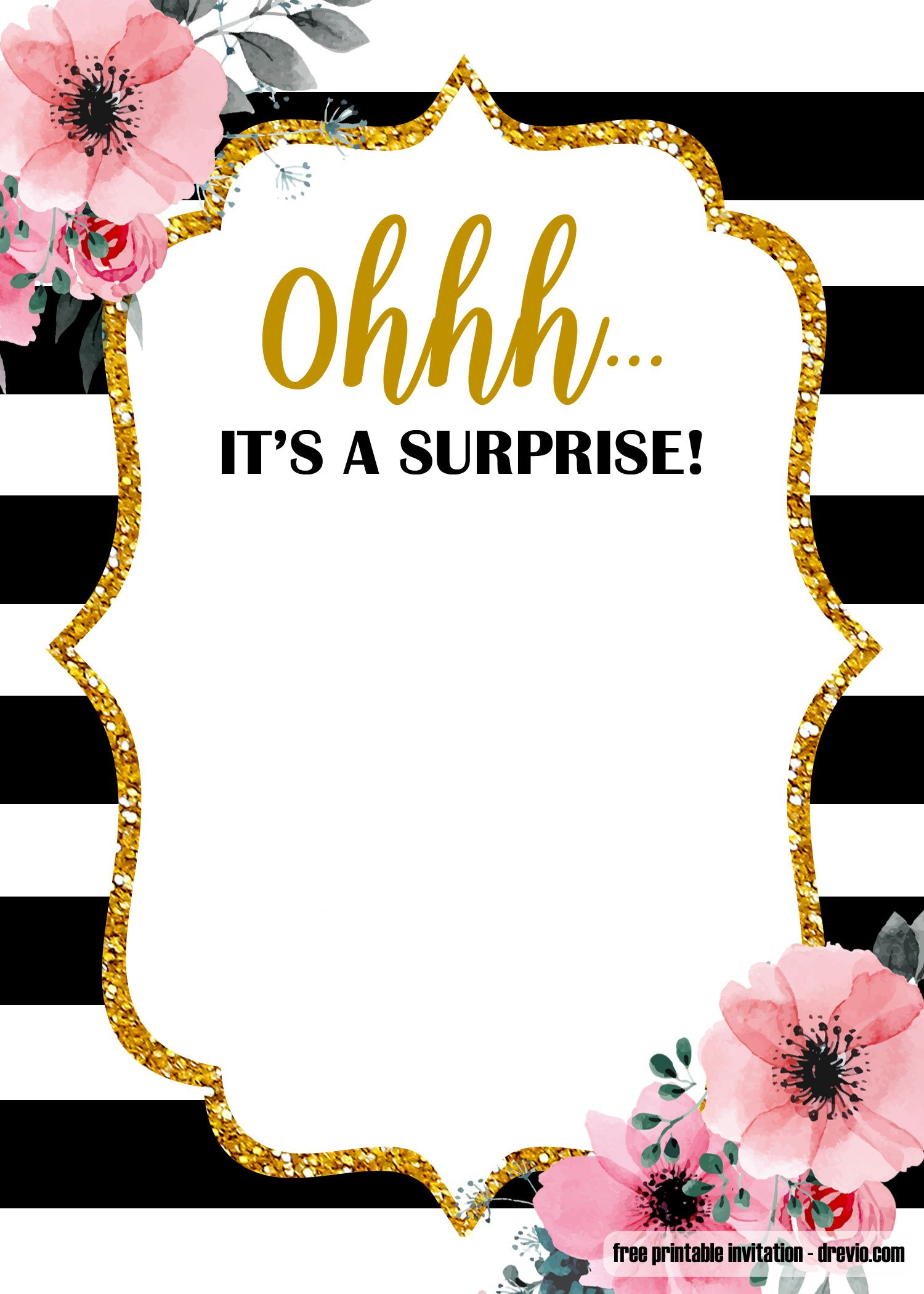 Free Printable Surprise Glitter Gold Invitation Templates