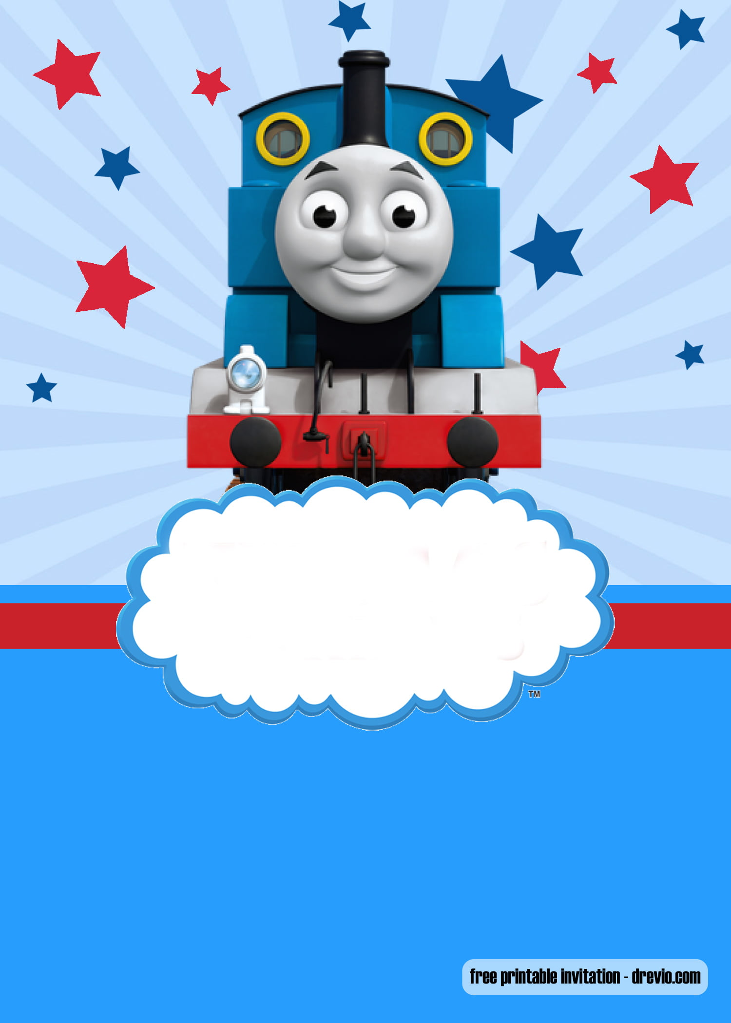 free thomas the train invitation