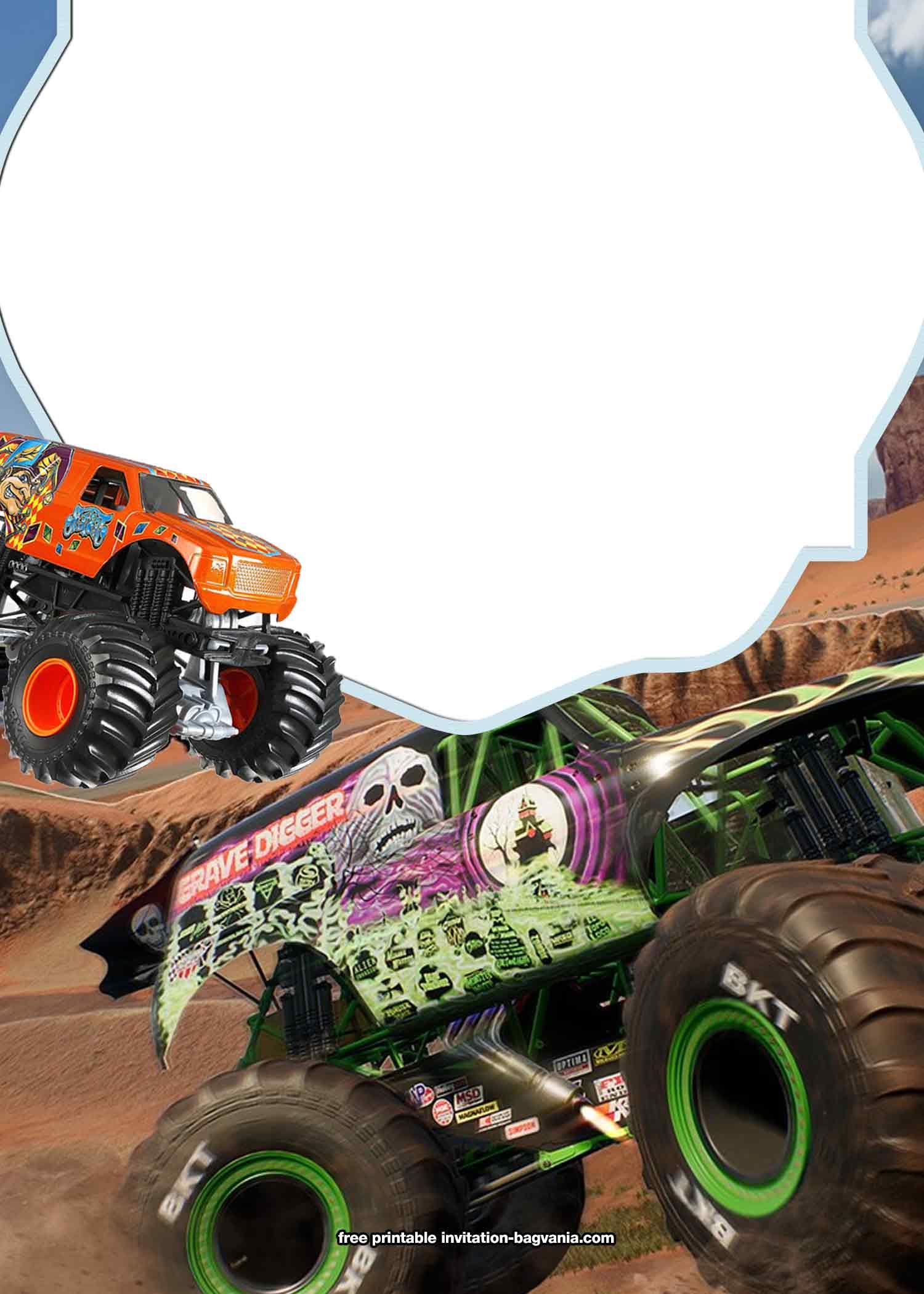 free printable monster truck birthday