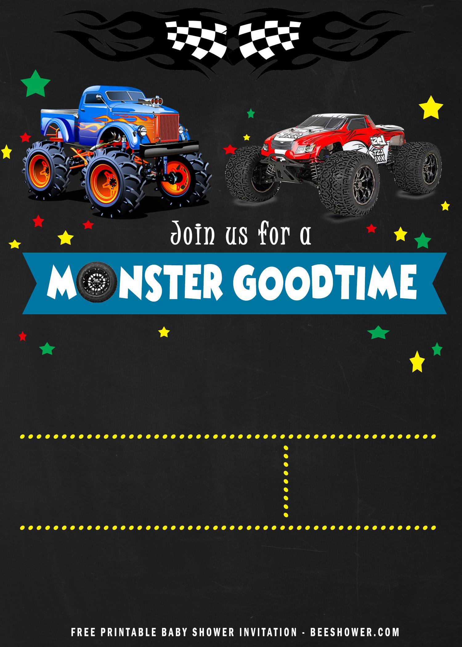 free printable monster trucks birthday