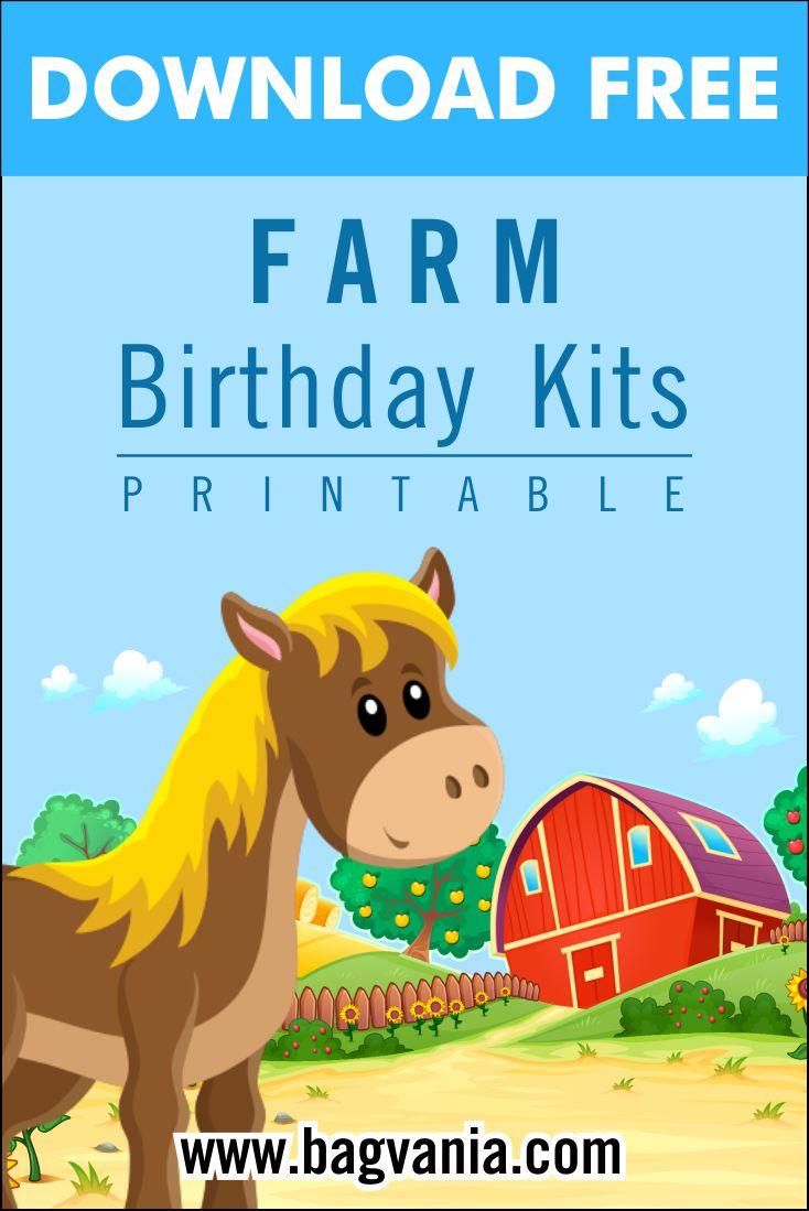 free printable farm birthday party kits