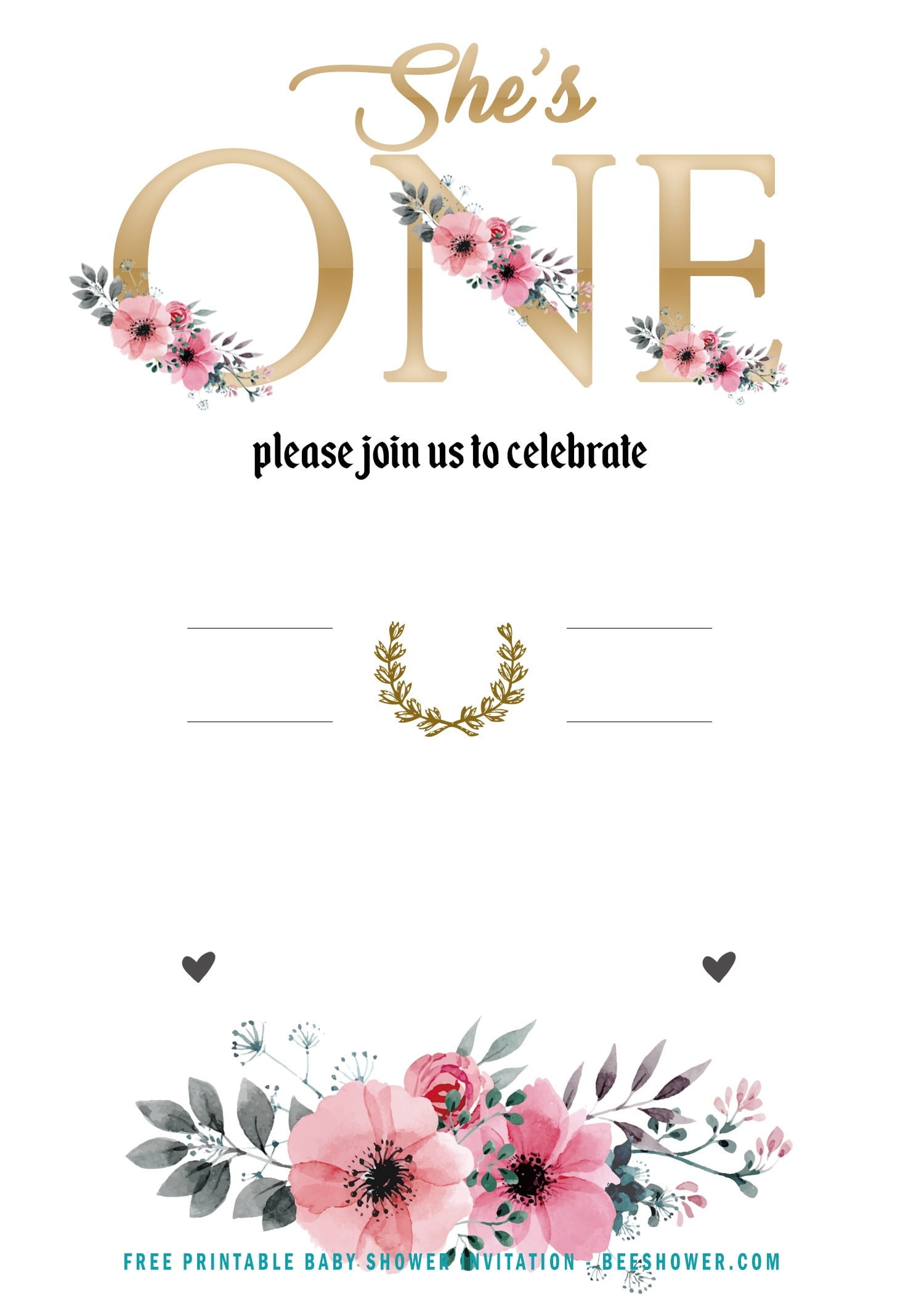 Free Girl Floral She S One Invitation Templates Free