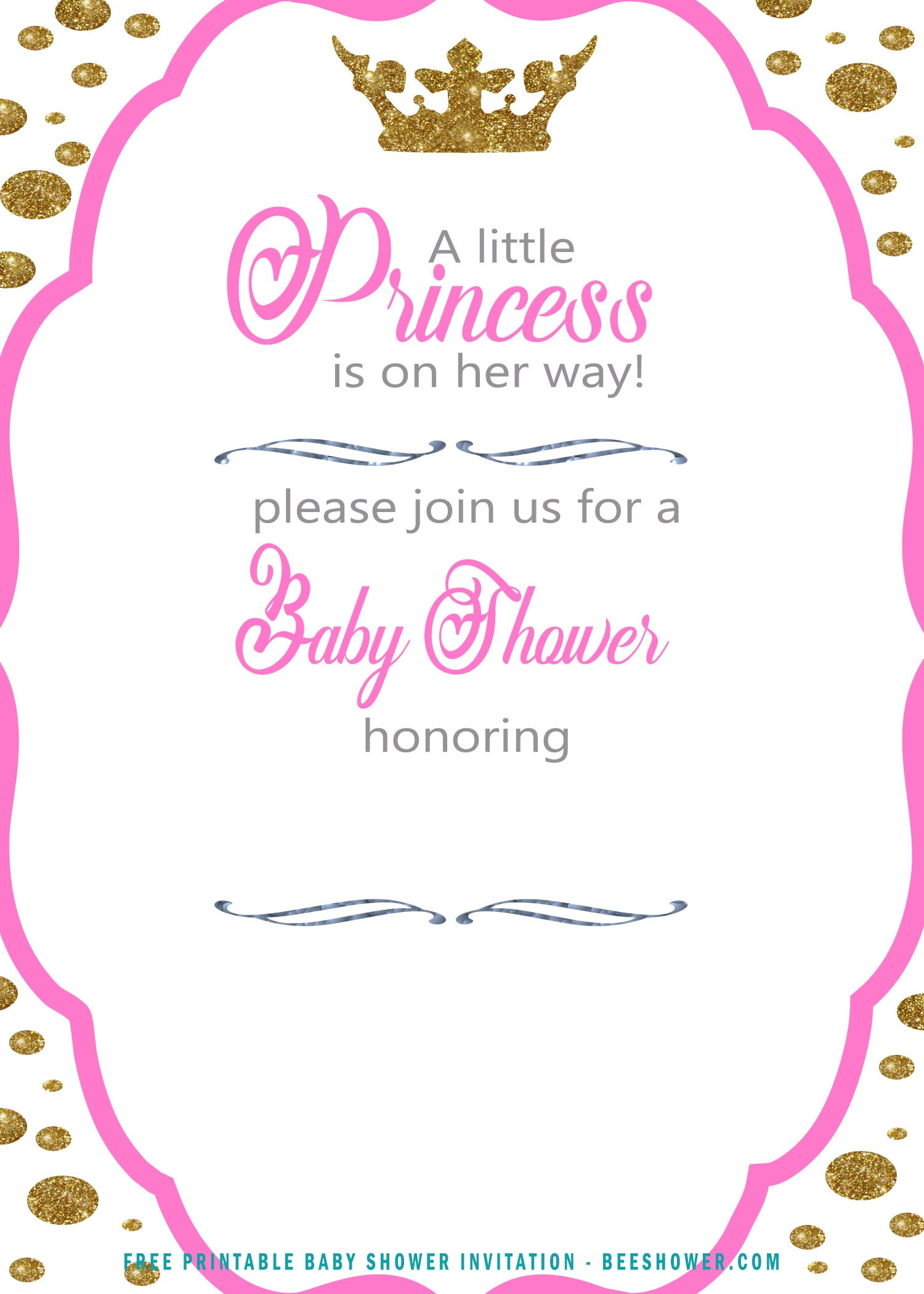 Free Polka Dot Princess Baby Shower Invitation Free