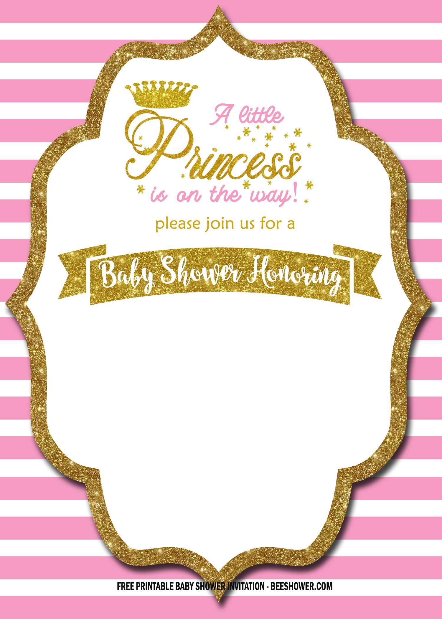 free royal pink and gold invitation