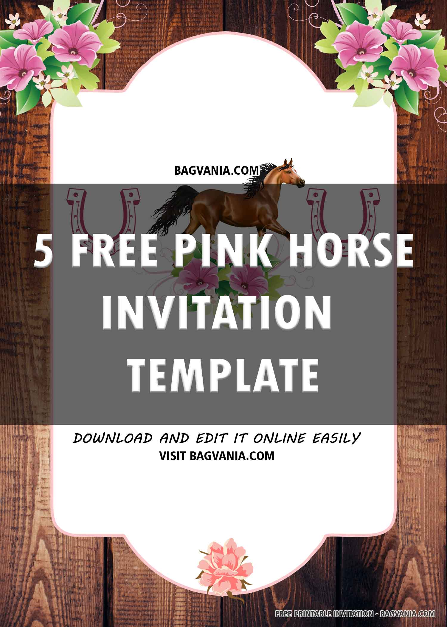 free printable pink horse birthday