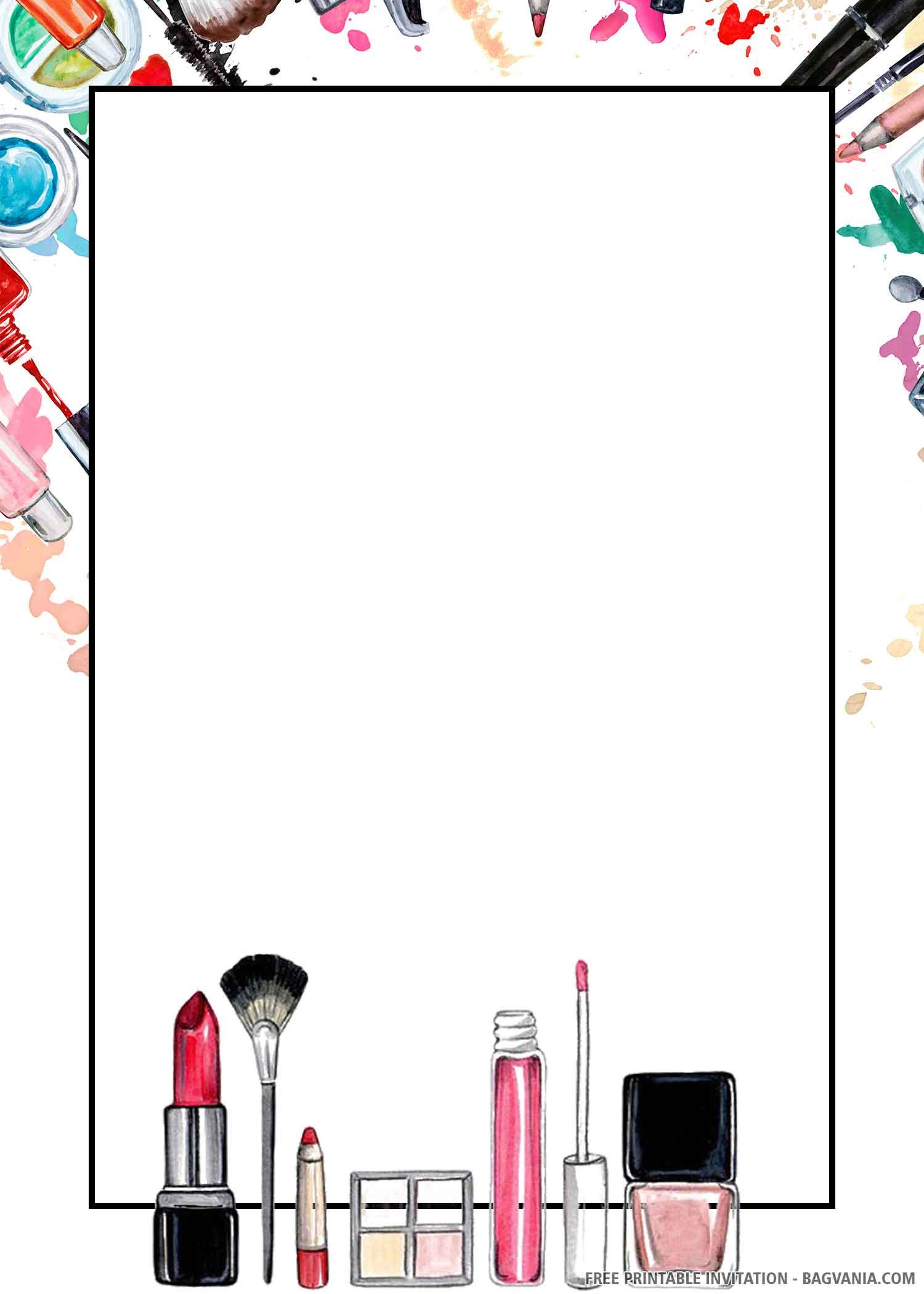 Free Printable Cosmetic Birthday Invitation Templates