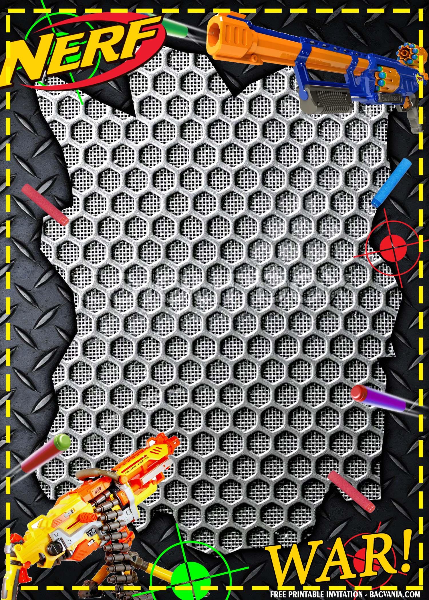 cool dart gun birthday invitation