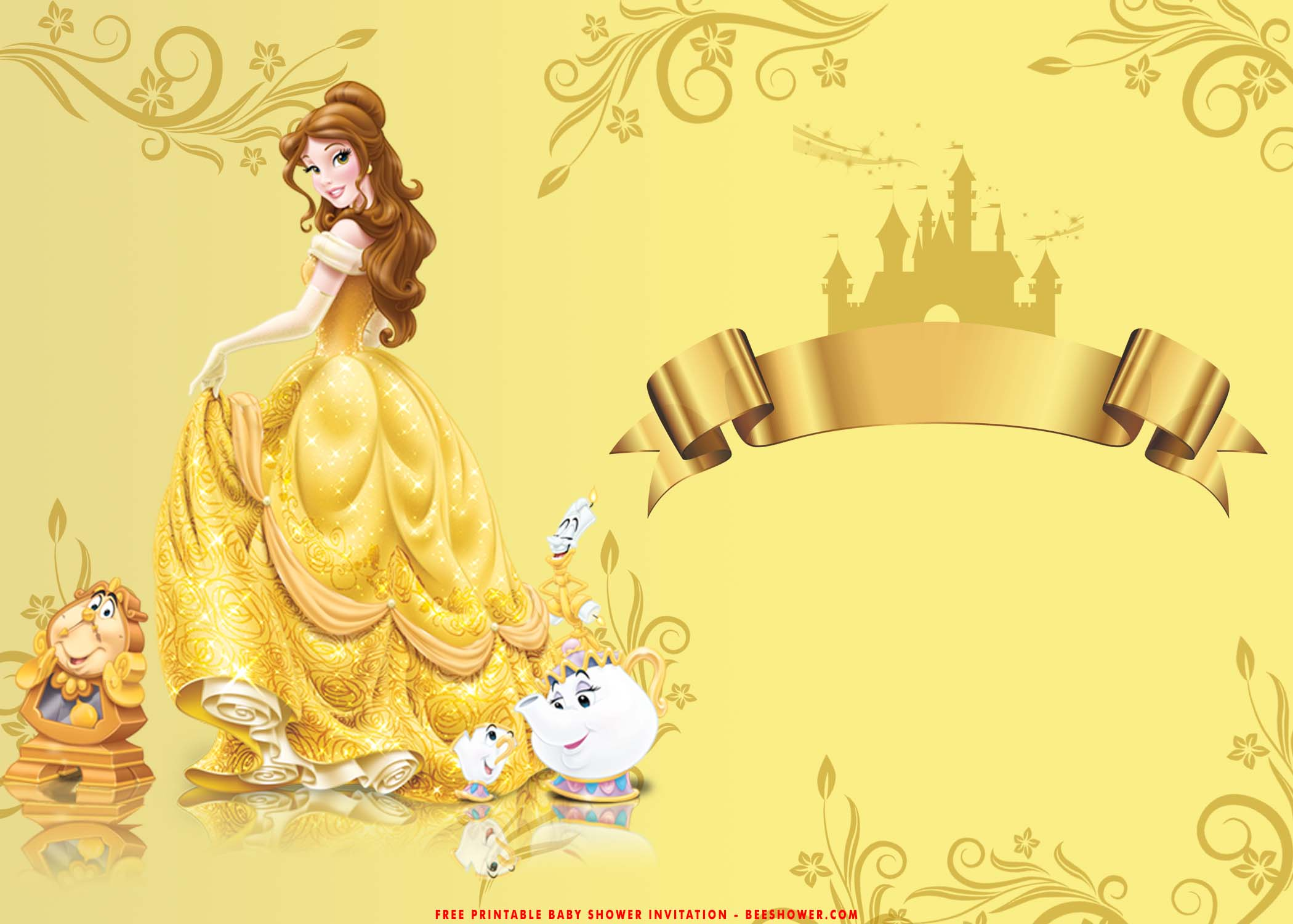 Free Printable Romantic Beauty And The Beast Baby