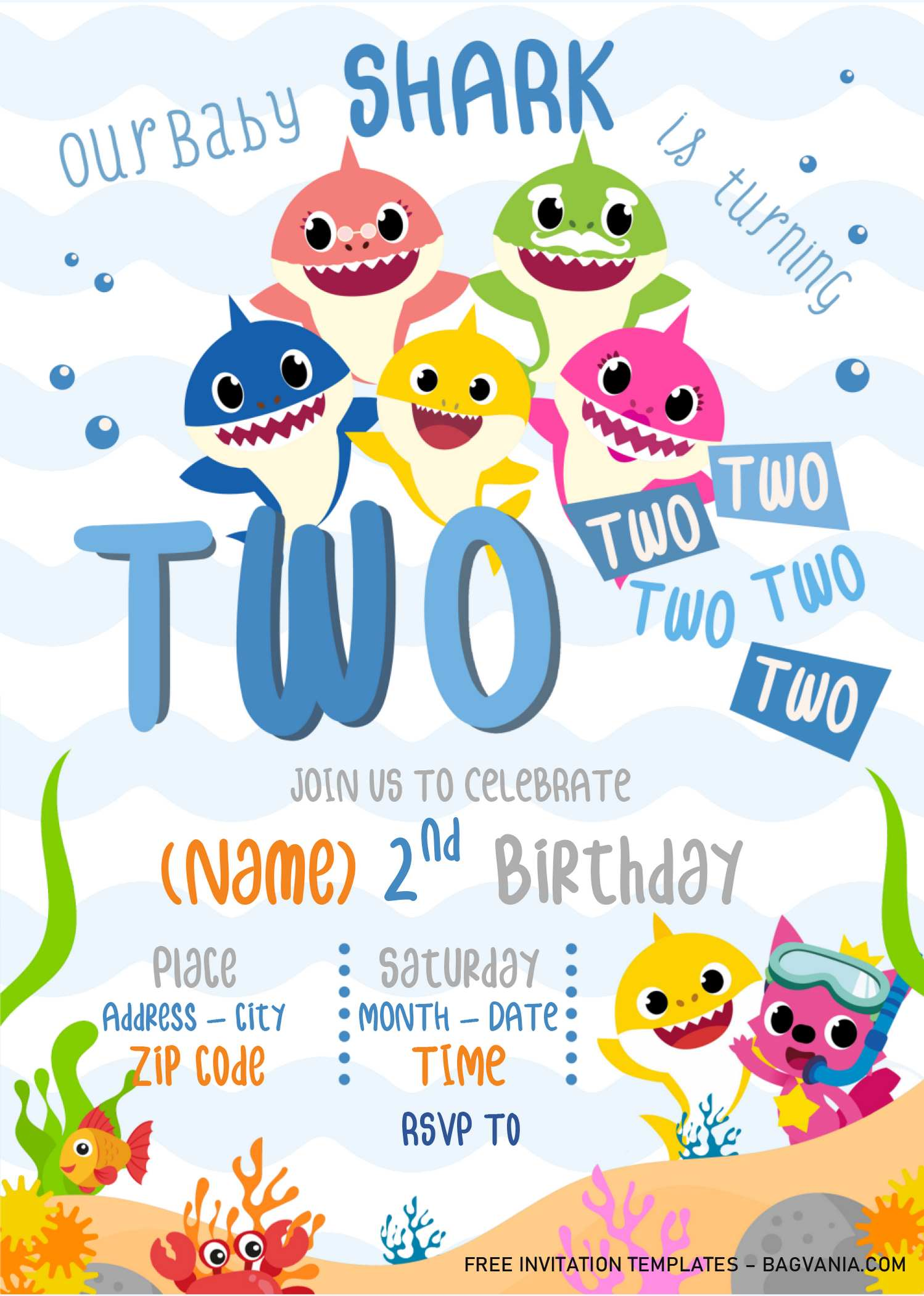 baby shark birthday invitation