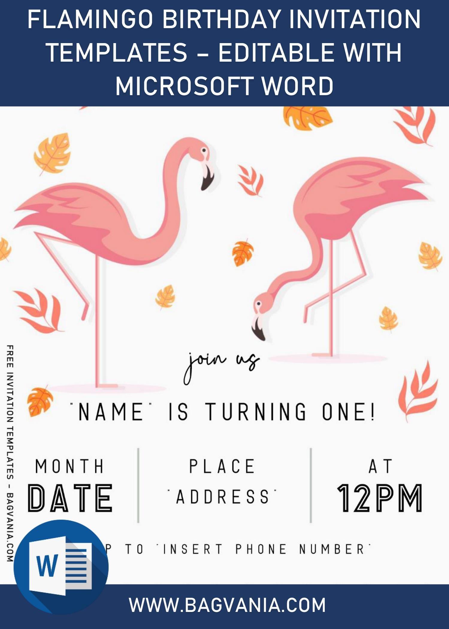 flamingo birthday invitation templates