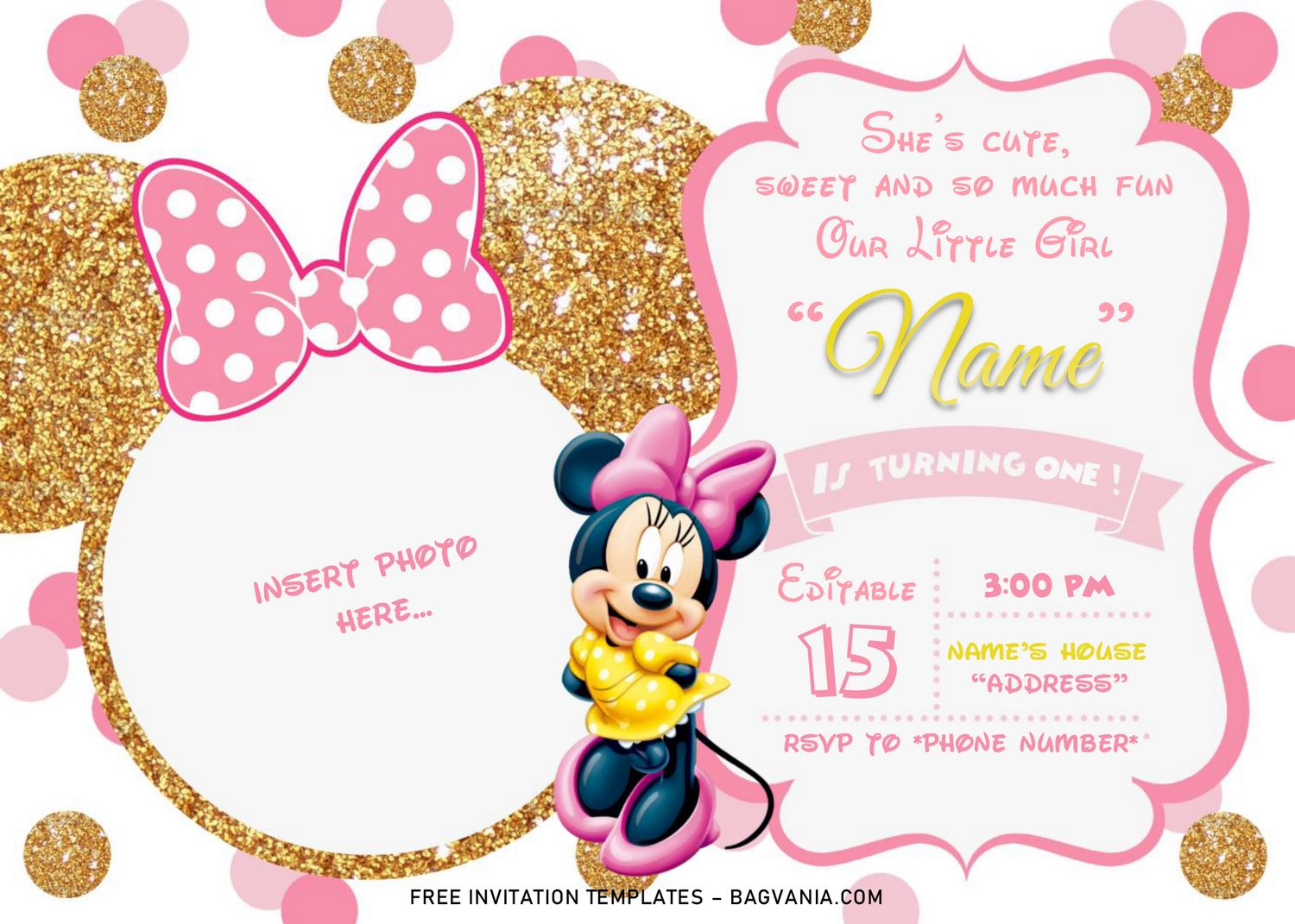 pink and gold minnie mouse birthday