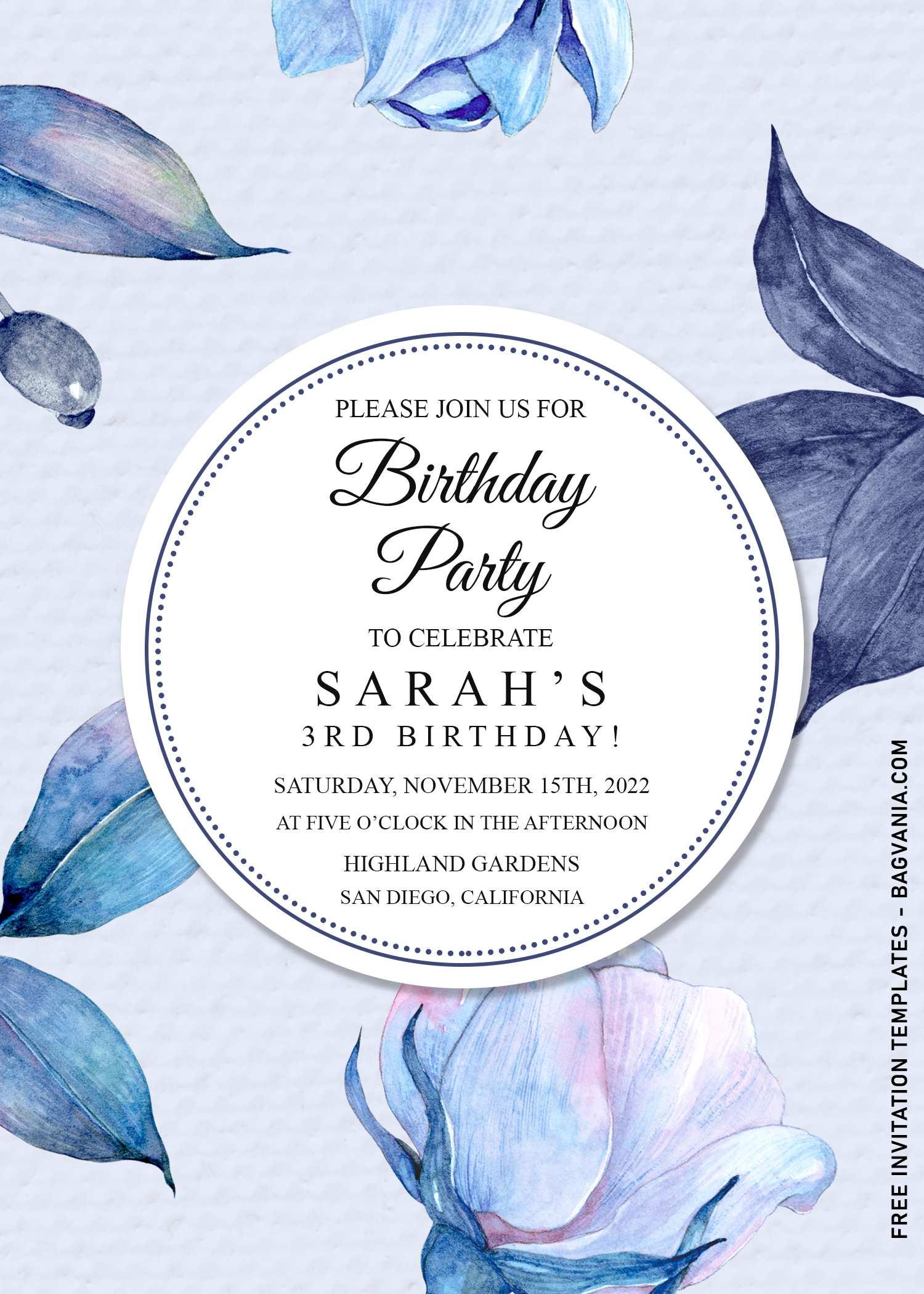 9 blue floral birthday invitation