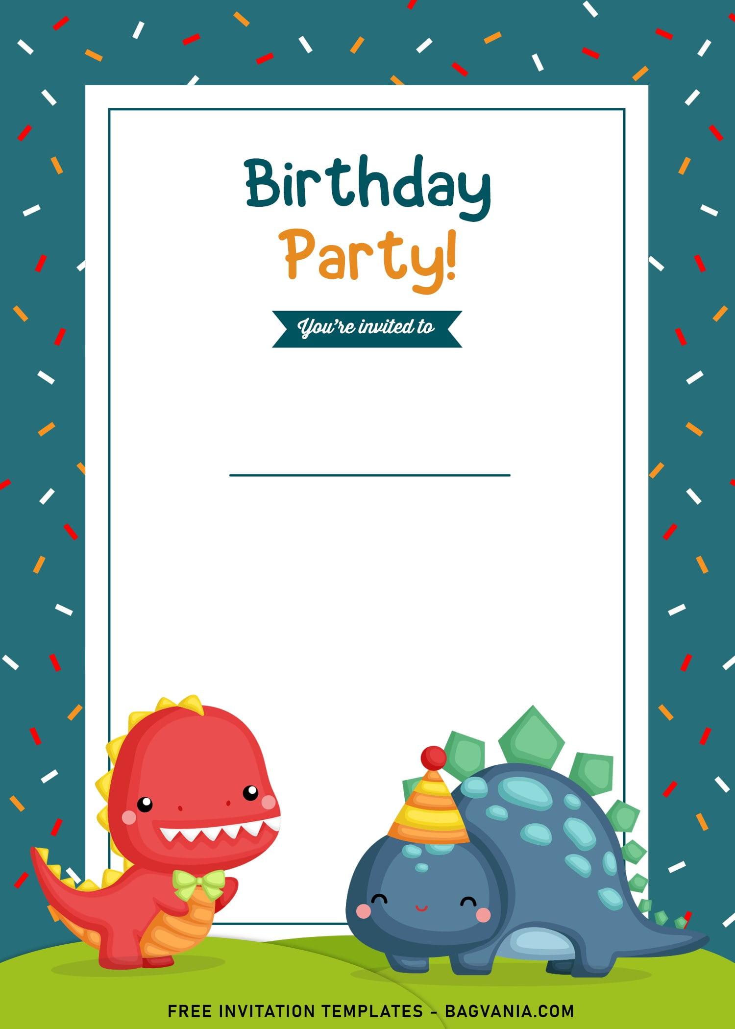 https www bagvania com 9 awesome dino party birthday invitation templates html