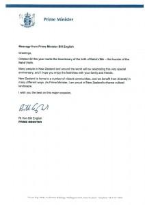 La  lettre de vœux du Premier ministre Bill English de Nouvelle-Zélande à la communauté bahá'íe de ce pays.