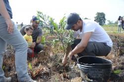 Des bénévoles plantent des arbres sur le nativo bosque, une forêt indigène près de la future maison d'adoration du Norte del Cauca.