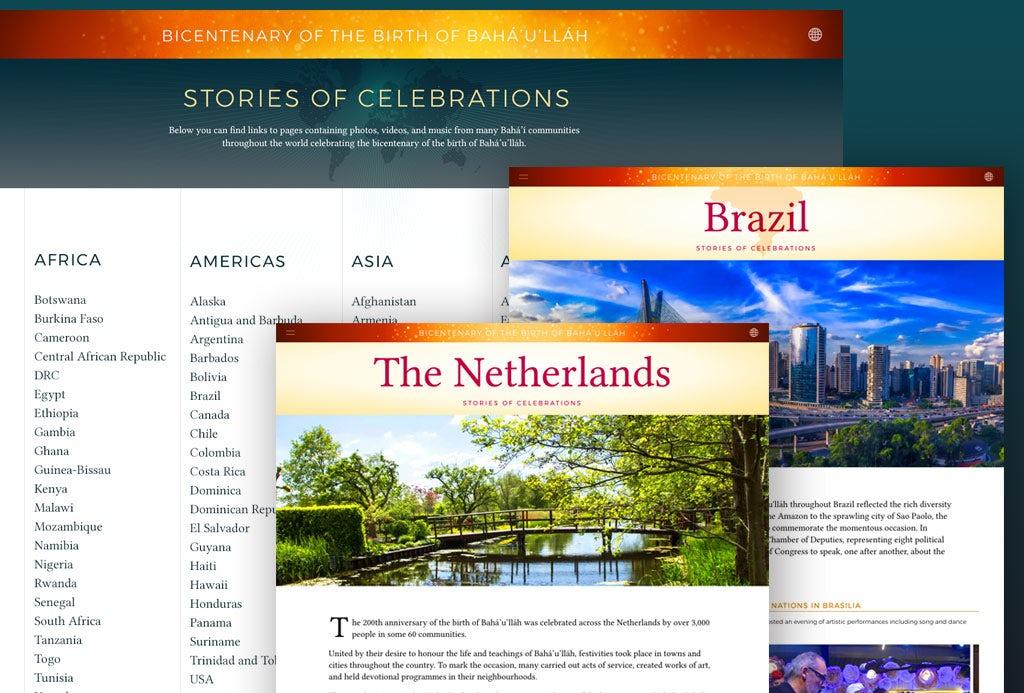La nouvelle section du site offre une vue enrichie des initiatives et des célébrations marquant le 200e anniversaire de la naissance de Bahá'u'lláh.